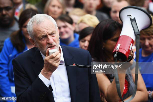 Leader of the Labour Party Jeremy Corbyn addresses the crowd at a campaign rally in Beaumont Park after launching the Labour Party Election Manifesto...