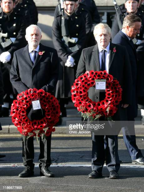 Leader of the Labour Party Jeremy Corbyn and British Prime Minister Boris Johnson attend the annual Remembrance Sunday memorial at The Cenotaph on...