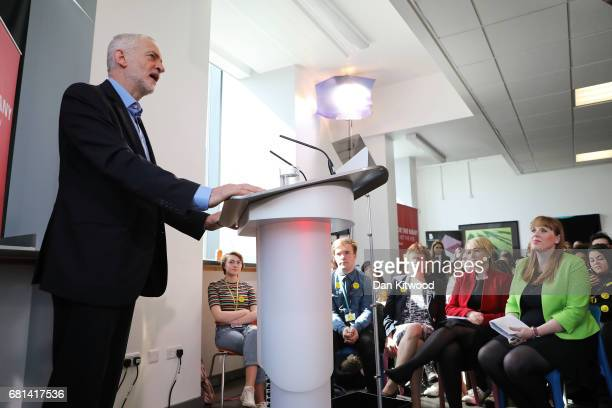 Leader of the Labour Party Jeremy Corbyn and Shadow Education Secretary Angela Rayner launch Labour's education plans at Leeds City College on May 10...