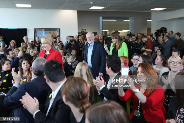 Leader of the Labour Party Jeremy Corbyn and Shadow Education Secretary Angela Rayner arrive to launch Labour's education plans at Leeds City College...