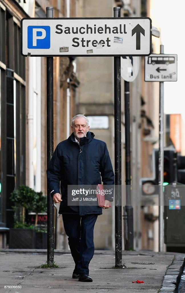 Leader of the Labour Party Jeremy Corbyn arrives at John Smith House on November 26, 2017 in Glasgow, Scotland. Mr Corbyn is in Glasgow to attend the meeting of Labour's National Executive Committee.