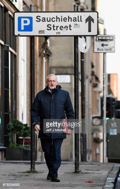 Leader of the Labour Party Jeremy Corbyn arrives at John Smith House on November 26 2017 in Glasgow Scotland Mr Corbyn is in Glasgow to attend the...