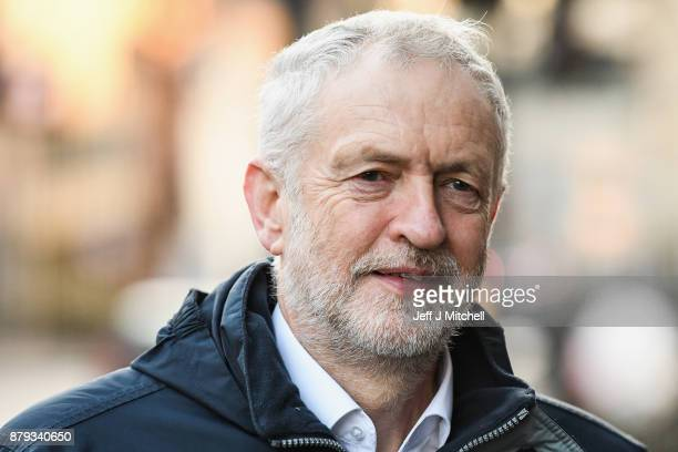 Leader of the Labour Party Jeremy Corbyn arrives at John Smith House on November 26 2017 in Glasgow Scotland Mr Corbyn was in Glasgow to attend the...