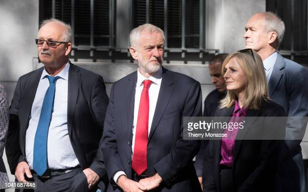 Leader of the Labour Party Jeremy Corbyn attend a ceremony ceremony to name a square in honour of slain British Labour MEP Jo Cox on September 27...