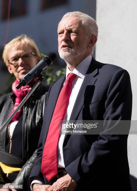 Leader of the Labour Party Jeremy Corbyn attend a ceremony ceremony to name a square in honor of slain British Labour MEP Jo Cox on September 27 2018...