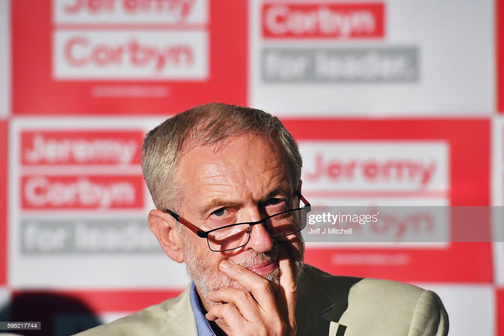 Leader of the Labour Party Jeremy Corbyn chairs a question and answer answer session at the Crown Plaza Hotel on August 25, 2016 in Glasgow, Scotland. Jeremy Corbyn and Owen Smith will go head to head in a debate at the SECC tonight, the hustings event is part of a series organised for the Labour leadership election campaign and is the only one to be taking place in Scotland.