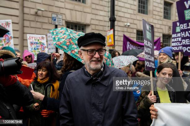 Leader of the Labour party Jeremy Corbyn during the March for Women on International Women's Day on March 8 2020 in London England International...