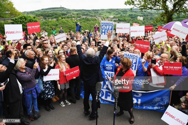 Leader of the Labour Party Jeremy Corbyn greets the crowd at a campaign rally in Beaumont Park after launching the Labour Party Election Manifesto on...