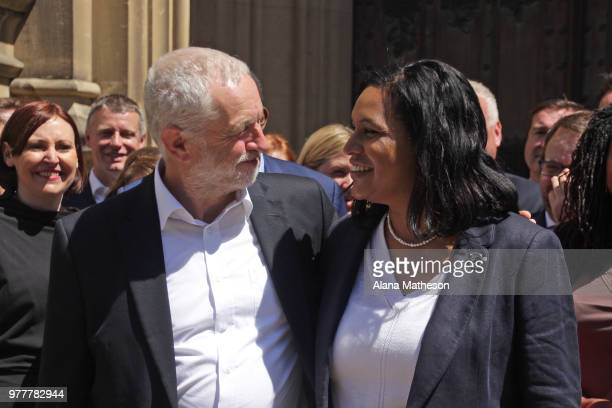 Leader of the Labour party Jeremy Corbyn introduces the newlyelected MP for Lewisham East Janet Daby outside the Houses of Parliament on June 18 2018...