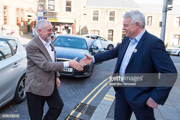 Leader of the Labour Party Jeremy Corbyn is greeted by the First Minister of Wales Carwyn Jones during a visit to Maesteg on May 4 2016 in Maesteg...