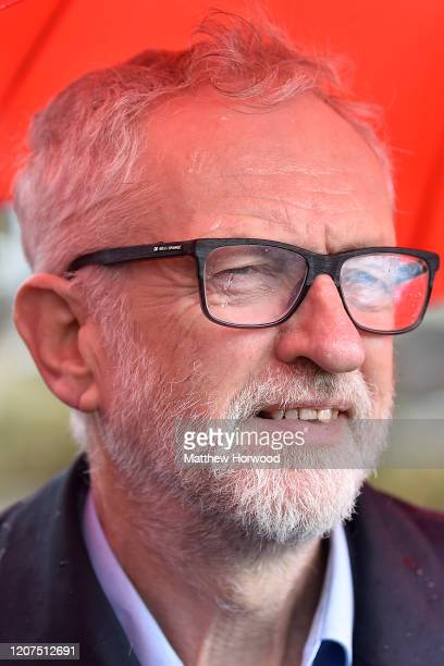 Leader of the Labour Party Jeremy Corbyn is interviewed by the media during a visit to flood victims at Wordsworth Gardens on February 20 2020 in...