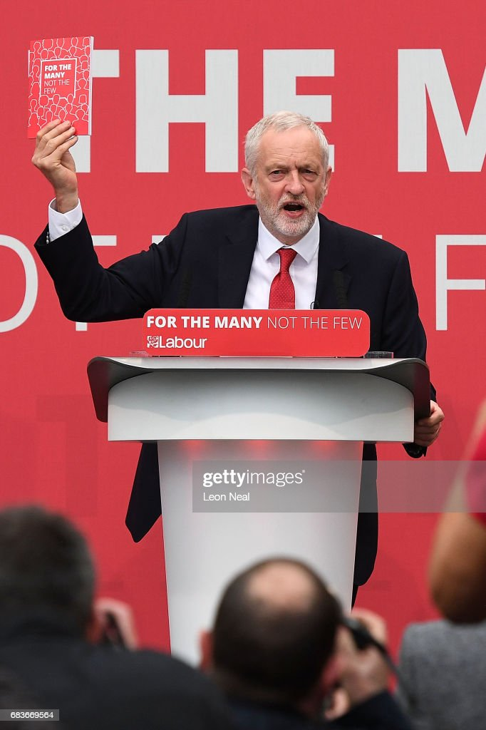 Leader of the Labour Party Jeremy Corbyn launches the Labour Party Election Manifesto, at Bradford University on May 16, 2017 in Bradford, England. Britain will vote in a general election on June 8.