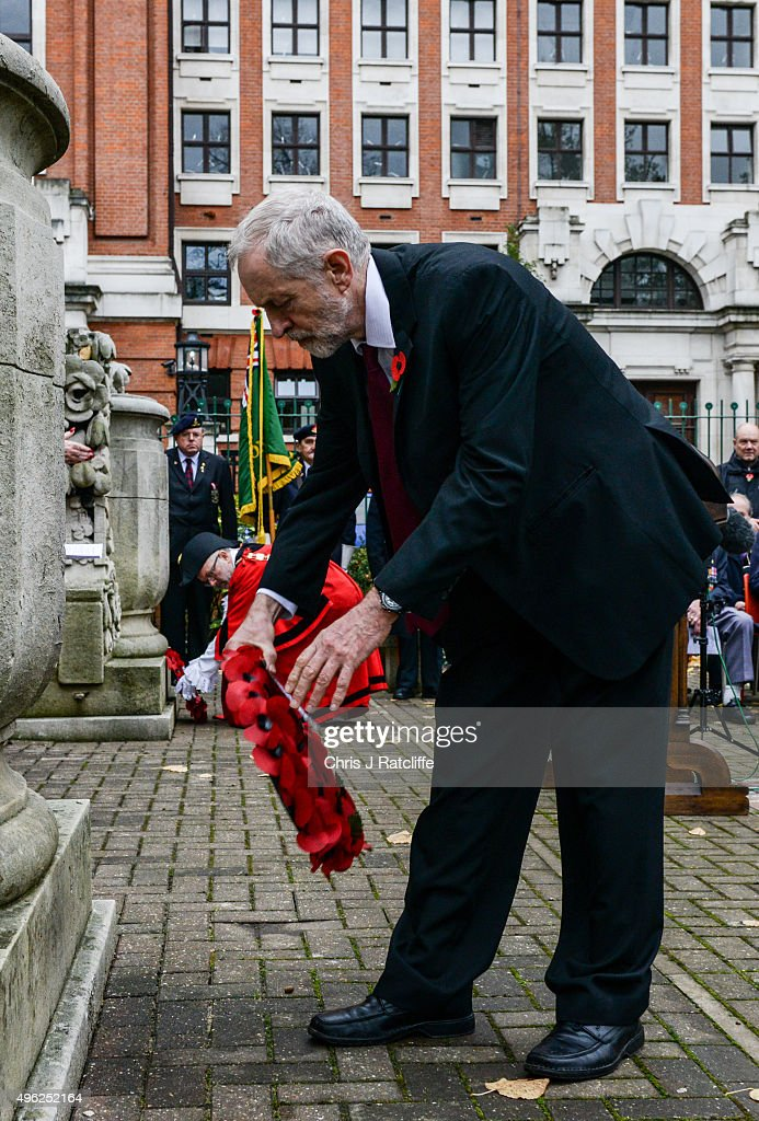 Leader of the Labour Party Jeremy Corbyn lays a wreath after speaking at Royal Northern Gardens in Islington on November 8, 2015 in London, England. The Labour Party leader observes Remembrance Sunday at the North Islington war memorial in Manor Gardens, where he read poem 'Futility' by Wilfred Owen. This was after attending the national service of remembrance at the Cenotaph in Whitehall with the Queen this morning.