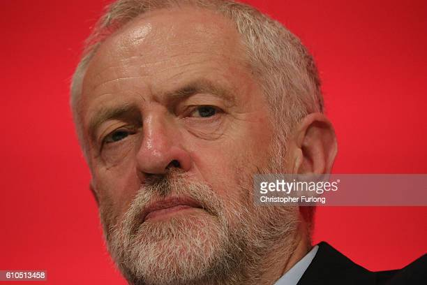 Leader of the Labour Party Jeremy Corbyn listens to speakers in the main hall on the second day of the Labour Party conference on September 26 2016...