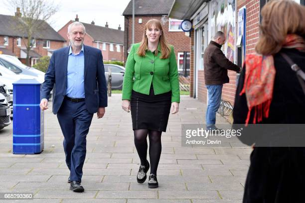 Leader of the Labour Party Jeremy Corbyn MP and Shadow Secretary for Education Angela Rayner arrive to visit a children's holiday club in Leyand to...