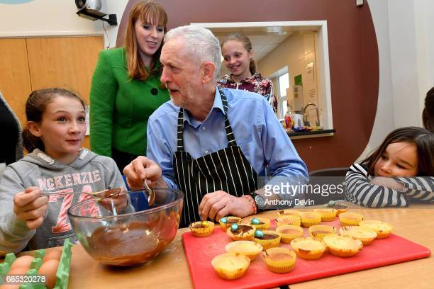 Leader of the Labour Party Jeremy Corbyn MP makes fairy cakes with McKenzie Fitzgerald Shadow Secretary for Education Angela Rayner and Lyra Bylinski...