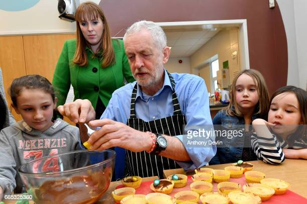 Leader of the Labour Party Jeremy Corbyn MP makes fairy cakes with McKenzie Fitzgerald Shadow Secretary for Education Angela Rayner Zofia...