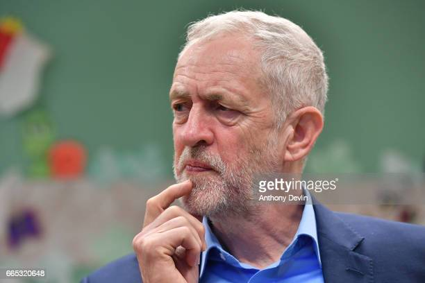 Leader of the Labour Party Jeremy Corbyn MP speaks to media during a visit to a children's holiday club in Leyand where he made an education policy...