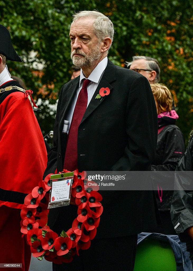 Leader of the Labour Party Jeremy Corbyn observes a minutes silence before laying a wreath and speaking at a war memorial at Royal Northern Gardens in Islington on November 8, 2015 in London, England. The Labour Party leader observes Remembrance Sunday at the North Islington war memorial in Manor Gardens, where he read poem 'Futility' by Wilfred Owen. This was after attending the national service of remembrance at the Cenotaph in Whitehall with the Queen this morning.