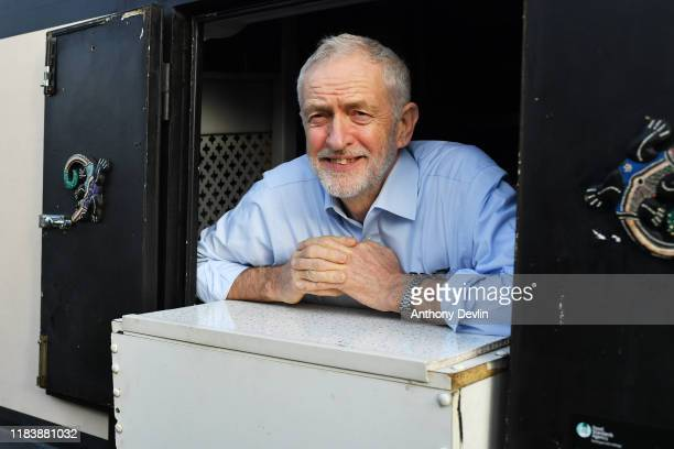 Leader of the Labour Party Jeremy Corbyn poses during a visit to The Oatcake Boat on the Trent Mersey Canal on November 22 2019 in Stoke on Trent...