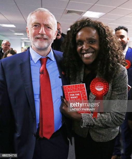 Leader of the Labour party Jeremy Corbyn poses for a photograph with Labour's Parliamentary Candidate for Peterborough Fiona Onasanya after making a...