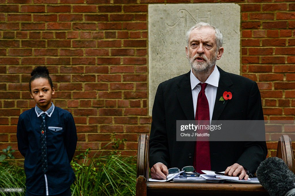 Leader of the Labour Party Jeremy Corbyn speaks and reads a Wilfred Owen poem at Royal Northern Gardens in Islington on November 8, 2015 in London, England. The Labour Party leader observes Remembrance Sunday at the North Islington war memorial in Manor Gardens, where he read poem 'Futility' by Wilfred Owen. This was after attending the national service of remembrance at the Cenotaph in Whitehall with the Queen this morning.