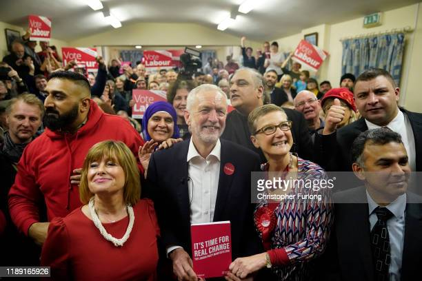 Leader of the Labour Party Jeremy Corbyn speaks during a general election campaign event at the Upper Gornal Pensioners Club on November 21 2019 in...