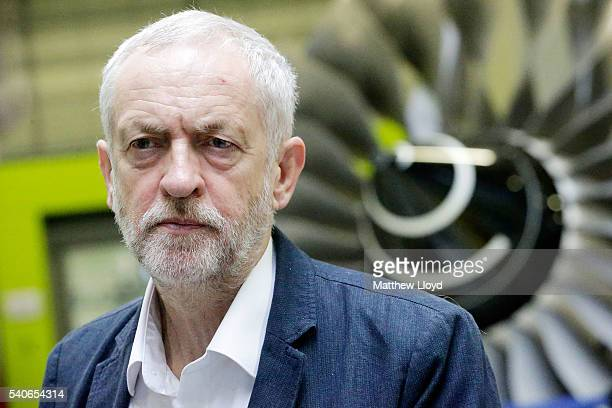Leader of the Labour Party Jeremy Corbyn tours the University of Sheffield's Advanced Manufacturing Research Centre on June 16 2016 in Sheffield...