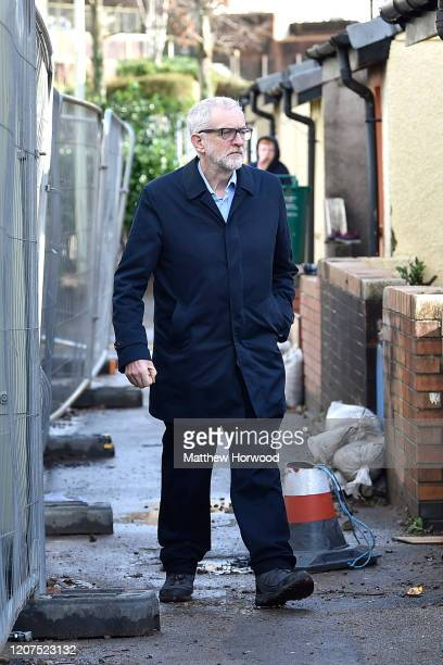 Leader of the Labour Party Jeremy Corbyn visits flood victims at Wordsworth Gardens on February 20 2020 in Rhydyfelin Wales Residents and business...