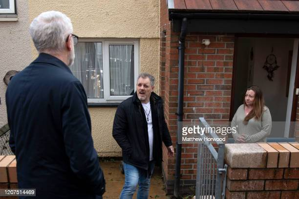 Leader of the Labour Party Jeremy Corbyn visits flood victims Richard Oliver and Emma Adamiec at Wordsworth Gardens on February 20 2020 in Rhydyfelin...