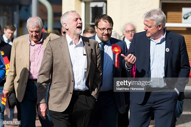 Leader of the Labour Party Jeremy Corbyn with byelection candidate Chris Elmore and First Minister Carwyn Jones during a visit to Maesteg on May 4...