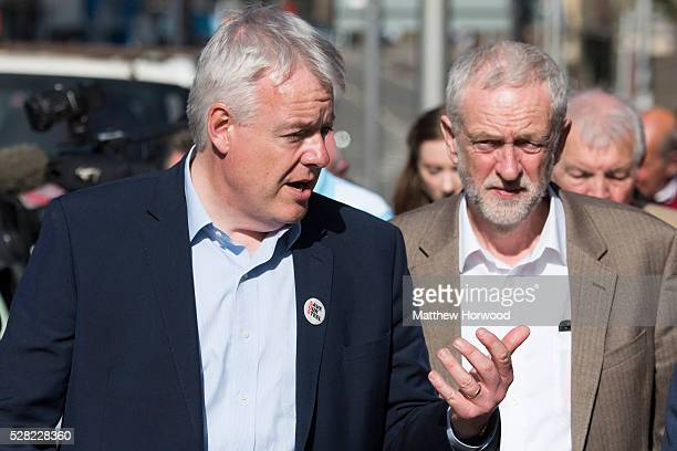 Leader of the Labour Party Jeremy Corbyn with First Minister of Wales Carwyn Jones during a visit to Maesteg on May 4 2016 in Maesteg Wales Tomorrow...