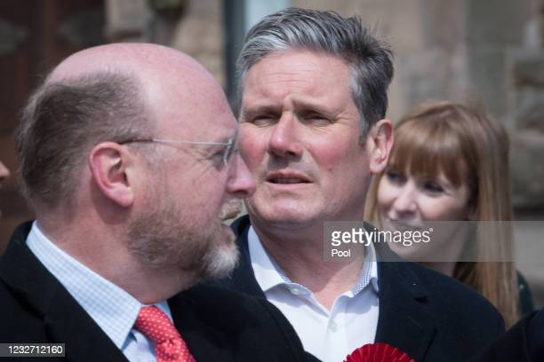 Leader of the Labour Party Sir Keir Starmer with West Midlands Metro Mayor candidate Liam Byrne and Labour Deputy Leader, Angela Rayner during a...