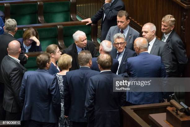 Leader of the Law and Justice rulling party Jaroslaw Kaczynski during a night debate on a Supreme Court bill in the lower house of Polish Parliament...