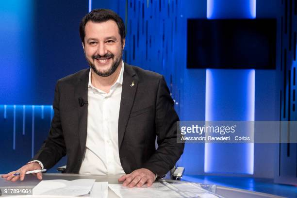 Leader of the Lega Nord political party Matteo Salvini and candidate for the Senate in the forthcoming Italian general election attends 8 1/2...