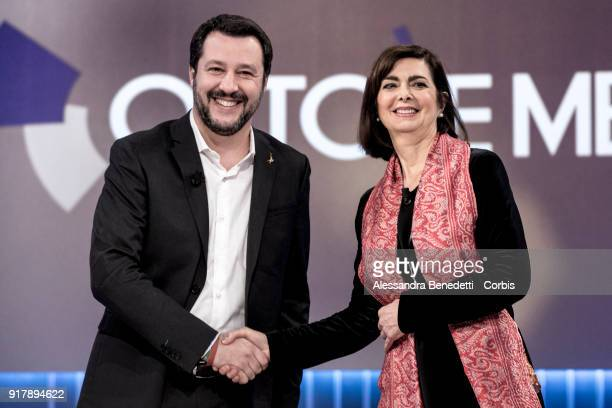 Leader of the Lega Nord political party Matteo Salvini and current President of the Chamber of Deputies of Italy Laura Boldrini candidates for the...