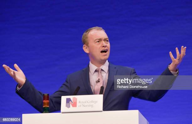 Leader of the Liberal Democrat Party Tim Farron speaks at the Royal College of Nursing Congress on May 15, 2017 in Liverpool, England. Britain will...