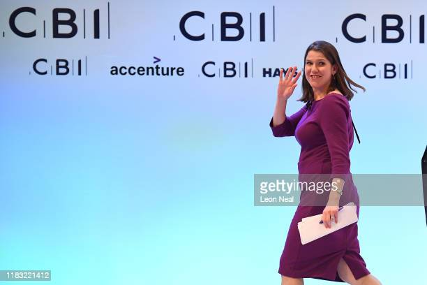 Leader of the Liberal Democrats Jo Swinson addresses delegates and business leaders at the annual CBI conference on November 18 2019 in London...