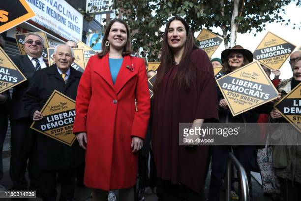 Leader of the Liberal Democrats Jo Swinson and Luciana Berger MP attend an election campaign event in Golders Green on November 6 2019 in London...
