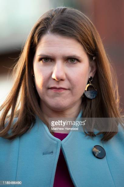 Leader of the Liberal Democrats Jo Swinson arrives to meet with senior representatives and members of the Muslim and Jewish communities at Cardiff...