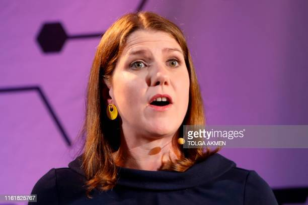 Leader of the Liberal Democrats Jo Swinson delivers a keynote speech on Brexit in London on August 15 2019 Swinson called on MPs who oppose nodeal to...