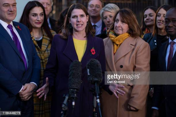 Leader of the Liberal Democrats Jo Swinson gathered her party of MPs outside the Houses of Parliament ahead of campaigning for the General Election...