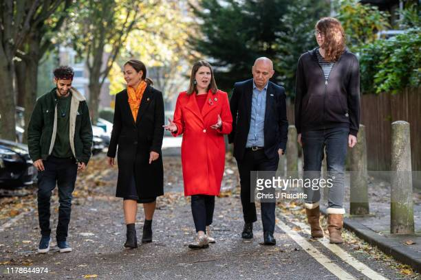 Leader of the Liberal Democrats Jo Swinson MP arrives with Liberal Democrat Mayoral Candidate Siobhan Benitato and representatives from 'akt' to...