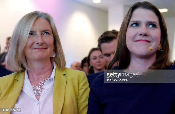 Leader of the Liberal Democrats Jo Swinson sits with newest MP Sarah Wollaston at an event where Swinson gave a keynote speech on Brexit in London on...