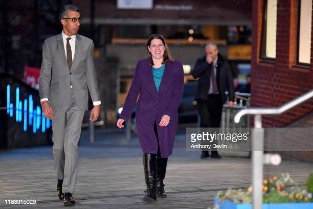 Leader of the Liberal Democrats Jo Swinson walks with Editorial Director of BBC News Kamal Ahmed as she arrives to take part in BBC Question Time...