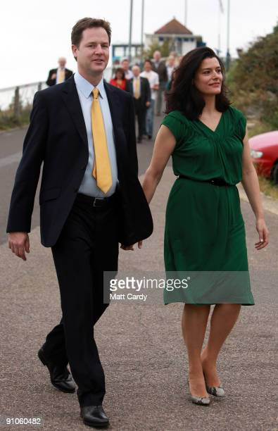 Leader of the Liberal Democrats Nick Clegg arrives with his wife Miriam at the Bournemouth International Centre on September 23 2009 in Bournemouth...