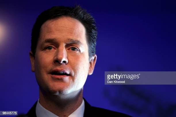 Leader of the Liberal Democrat's Nick Clegg launches their party's Manifesto at the Bloomberg headquarters on April 14 2010 in London United Kingdom...