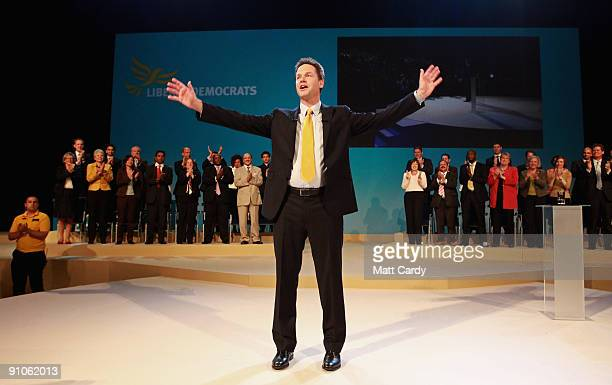 Leader of the Liberal Democrats Nick Clegg makes his leadership speech at the Bournemouth International Centre on September 23 2009 in Bournemouth...