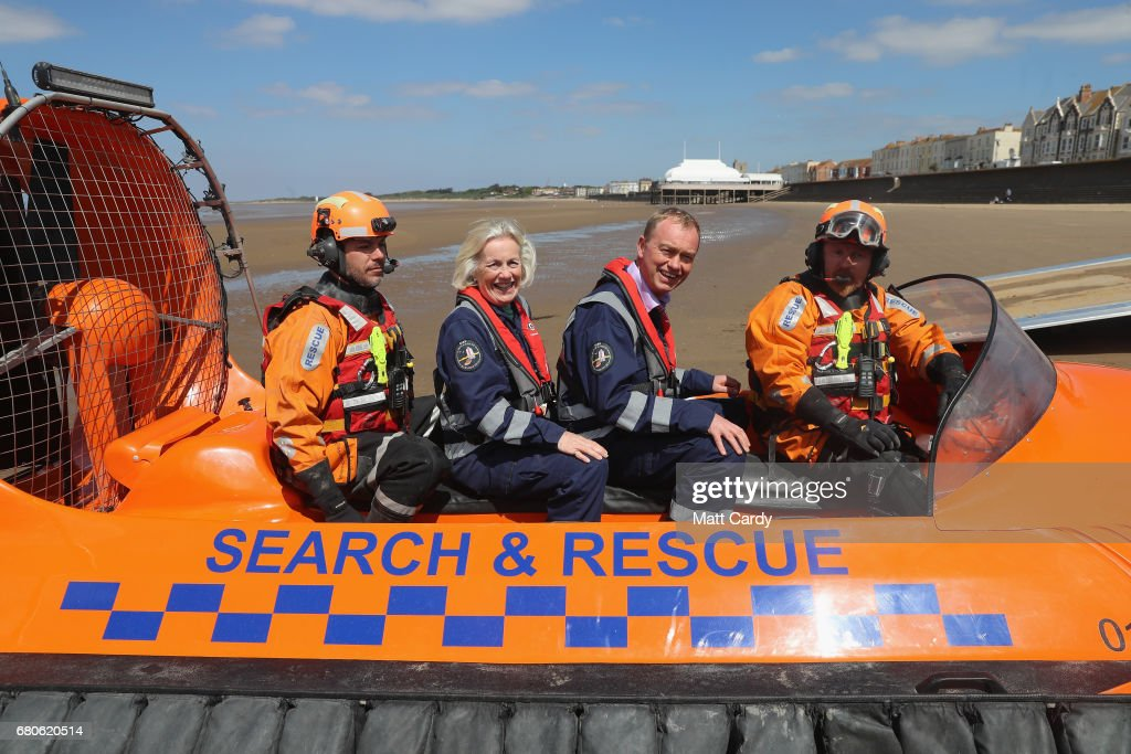 Leader of the Liberal Democrats Tim Farron and Tessa Munt MP pose for a photo on a search and rescue boat as he campaigns at a volunteer-run Rescue Boat Service on May 9, 2017 at Burnham-on-Sea, England. Campaigning is underway ahead of the June 8th general election.