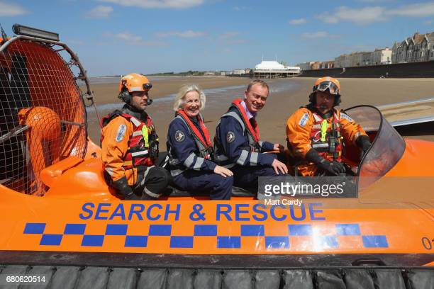 Leader of the Liberal Democrats Tim Farron and Tessa Munt MP pose for a photo on a search and rescue boat as he campaigns at a volunteer-run Rescue...